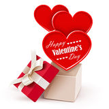 Gift box with big hearts Stock Photography