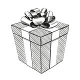 Gift box, birthday holiday symbol, Christmas hand drawn vector illustration realistic sketch royalty free illustration