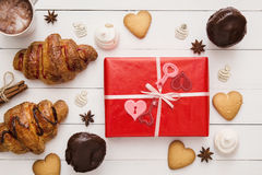 Gift box for the Birthday or St. Valentine`s Day, bakery Stock Photos