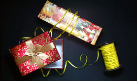 Gift box on black background.  Stock Photography