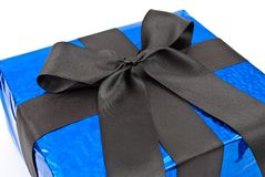 Gift box with black bow Royalty Free Stock Photography