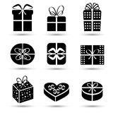 Gift box black icon set different styles Stock Photo