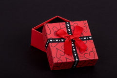 Gift box on black Royalty Free Stock Image