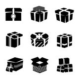 Gift box black and white icons set Stock Image
