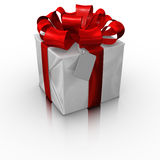 Gift box with a blank card Royalty Free Stock Images