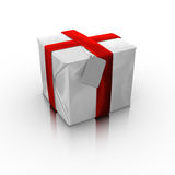 Gift box with a blank card Royalty Free Stock Photos
