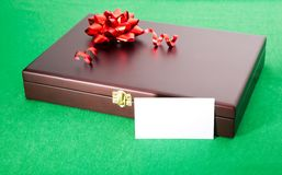 Gift box with blank card. Gift box and blank card Royalty Free Stock Images