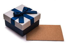 Gift box and blank card Royalty Free Stock Photo