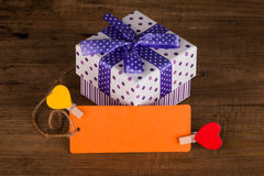 Gift box with blank card Stock Image