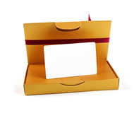 Gift box with blank gift card inside Stock Image