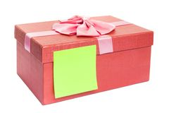 Gift box with blank gift tag. Stock Photos