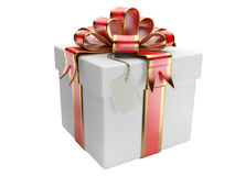 Gift box with blank gift tag Royalty Free Stock Photo
