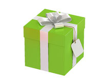 Gift box with blank label Royalty Free Stock Image