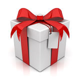 Gift box with blank tag Stock Images