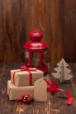 Gift Box With Blank Tag. Christmas Decorations Royalty Free Stock Images