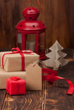 Gift Box With Blank Tag. Christmas Decorations Stock Image