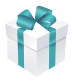 Gift box with blue atlas ribbon and bow. Gift box ribbon bow package Stock Image