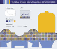 Gift box with blue azulejos ceramic model and instructions. Vector template for present box with blue azulejos ceramic models royalty free illustration