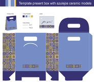 Gift box with blue azulejos ceramic models Royalty Free Stock Images
