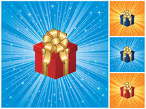 Gift box on blue background Royalty Free Stock Images