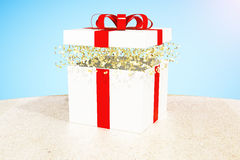 Gift box blue background Stock Photography