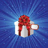 Gift box on blue background with stars Stock Image