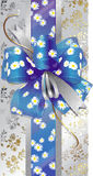 Gift box with a blue bow Stock Photos