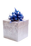 Gift box with blue bow. Gift box (isolated on white Royalty Free Stock Image