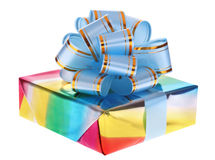 Gift box and blue bow. Isolated Royalty Free Stock Image
