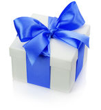 Gift box with blue bow isolated on the white background Stock Photo