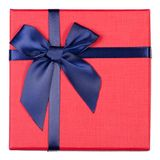 Gift box with blue bow. On a white background isolation, top view Royalty Free Stock Image