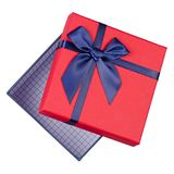 Gift box with blue bow. On a white background isolation, top view Royalty Free Stock Photos