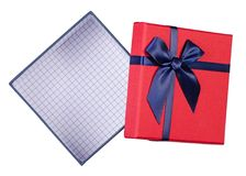 Gift box with blue bow. On a white background isolation, top view Stock Image