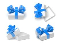 Gift box with blue decoration ribbon. Male style. 3d rendering illustration vector illustration