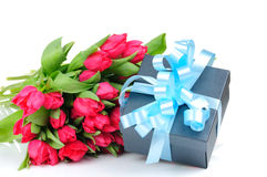 Gift box with blue ribbon Royalty Free Stock Photography