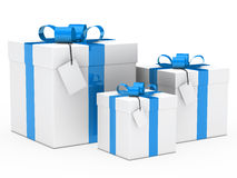 Gift box blue ribbon Stock Image