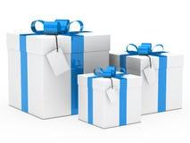 Gift box blue ribbon Stock Image