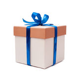 Gift box with blue ribbon and bow Royalty Free Stock Image