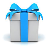 Gift box with blue ribbon bow. On white background Stock Images