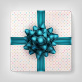 Gift box with blue ribbon bow. EPS 10. Gift box with blue ribbon bow, from above on gray. EPS 10 vector file included Royalty Free Stock Images