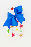 Gift box with blue ribbon and bow isolated Stock Photos