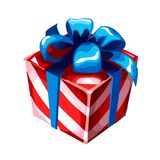 Gift box with blue ribbon bow, striped wrapped paper, isolated on white. Sketch for greeting card, festive poster, party. Invitation. Attributes of Christmas Royalty Free Stock Photography