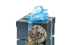 Gift box with blue ribbon isolated Royalty Free Stock Photo