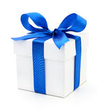 Gift box with blue ribbon. Gift box with blue ribbon on white stock photography
