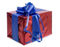 Gift box with blue ribbon Stock Photo