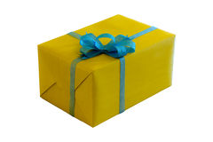 Gift Box with Blue Ribbon Royalty Free Stock Photos
