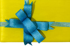 Gift Box with Blue Ribbon Stock Photos