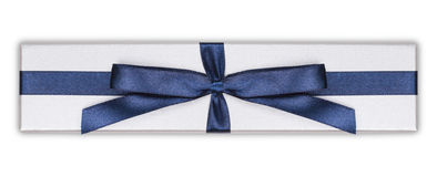Gift box with blue satin ribbon bow, Royalty Free Stock Photo