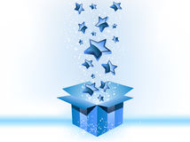 Gift Box Blue with Stars Royalty Free Stock Photos