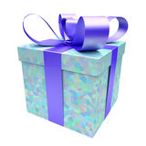 Gift box blue with voronoi texture Royalty Free Stock Photography